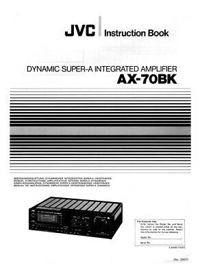 JVC AX-70BK Amplifier Owners Instruction Manual Reprint