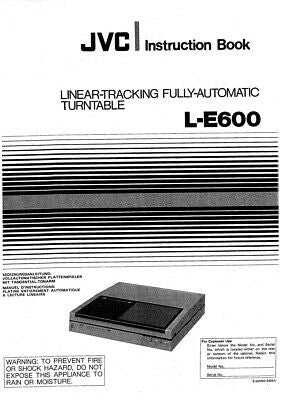 JVC L-E600 Turntable Owners Instruction Manual Reprint