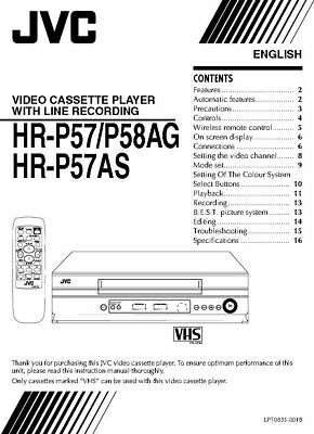 JVC HR-P57 HR-P57AS HR-P58AG VCR Owners Instruction Manual Reprint