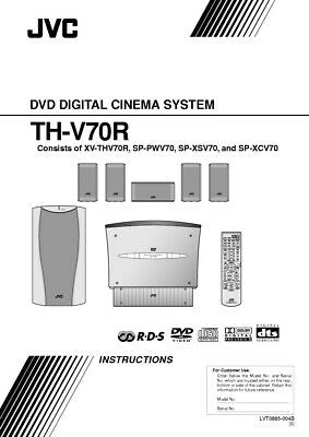 JVC TH-V70R-XV-THV70R Home Theater System Owners Instruction Manual Reprint