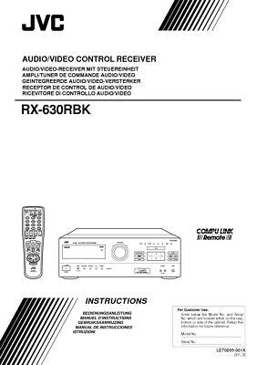 JVC RX-630RBK Receiver Owners Instruction Manual Reprint