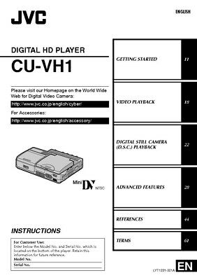 JVC CU-VH1 Digital HD Player Owners Instruction Manual Reprint