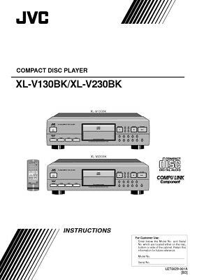 JVC XL-V130BK XL-V230BK CD Player Owners Instruction Manual Reprint