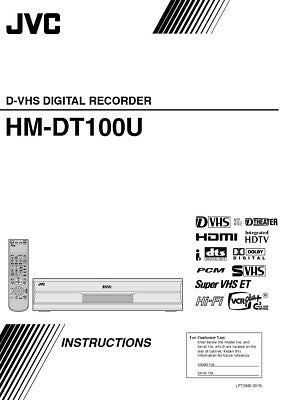 JVC HM-DT100U VCR Owners Instruction Manual Reprint
