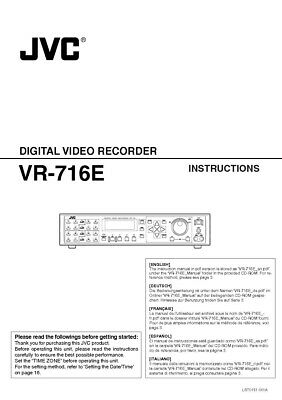 JVC VR-716E Digital Video Recorder Owners Instruction Manual Reprint