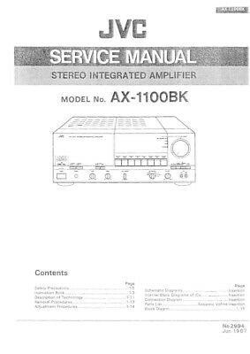 JVC AX-1100BK Amplifier Owners Instruction Manual Reprint
