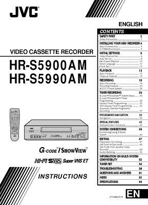 JVC HR-S5900AM HR-S5990AM HR-S5990AM EA VCR Owners Instruction Manual Reprint
