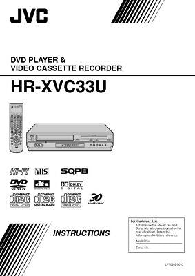 JVC HR-XVC33U HR-XVC33UC VCR Owners Instruction Manual Reprint