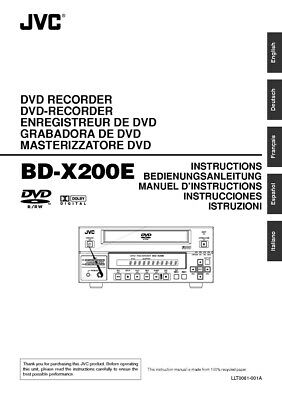 JVC BD-X200E DVD Recorder Owners Instruction Manual Reprint