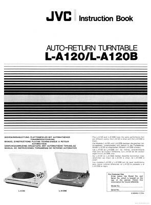 JVC L-A120 L-A120B Turntable Owners Instruction Manual Reprint