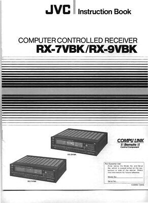 JVC RX-7VBK RX-9VBK Receiver Owners Instruction Manual Reprint