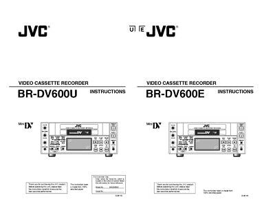 JVC BR-DV600U BR-DV600E VCR Owners Instruction Manual Reprint