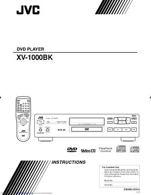 JVC XV-1000BK DVD Player Owners Instruction Manual Reprint