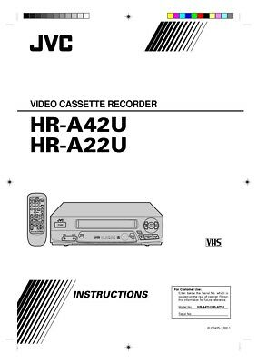 JVC HR-A22U HR-A42U VCR Owners Instruction Manual Reprint