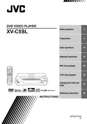 JVC XV-C5SL DVD Player Owners Instruction Manual Reprint