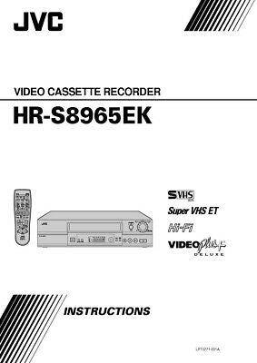 JVC HR-S8965EK VCR Owners Instruction Manual Reprint
