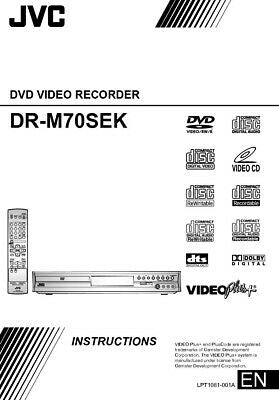 JVC DR-M70SEK DVD Recorder Owners Instruction Manual Reprint