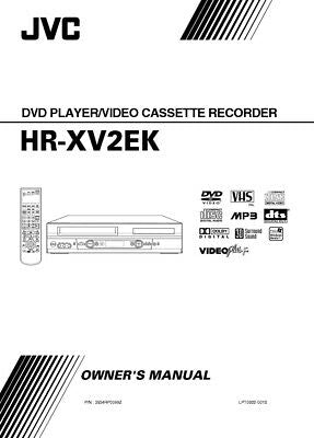 JVC HR-XV2EK VCR Owners Instruction Manual Reprint