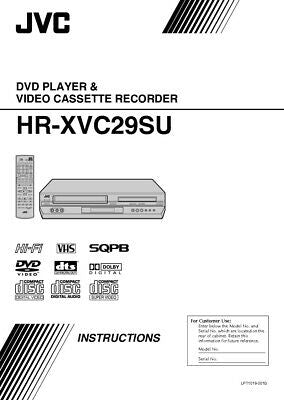 JVC HR-XVC29SU VCR Owners Instruction Manual Reprint