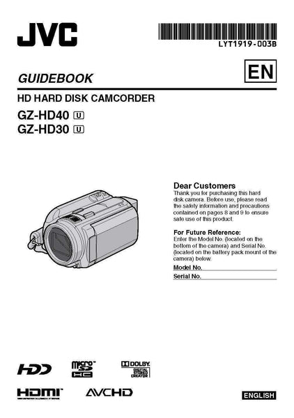 JVC GZ-HD40 GZ-HD30 HD Hard Disk Camcorder Guidebook Owners Manual