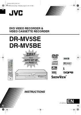 JVC DR-MV5BE DR-MV5SE DVD Recorder Owners Instruction Manual Reprint