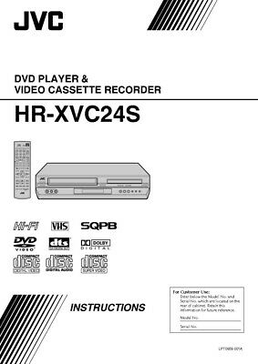 JVC HR-XVC24S VCR Owners Instruction Manual Reprint