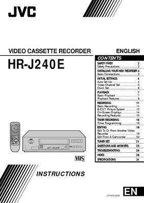 JVC HR-J240E VCR Owners Instruction Manual Reprint