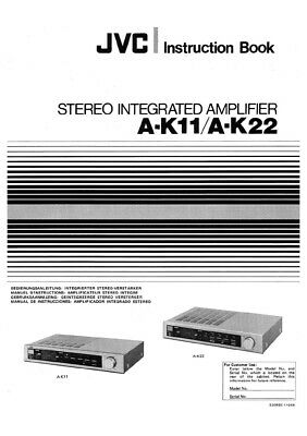 JVC A-K11 A-K22 Amplifier Owners Instruction Manual Reprint