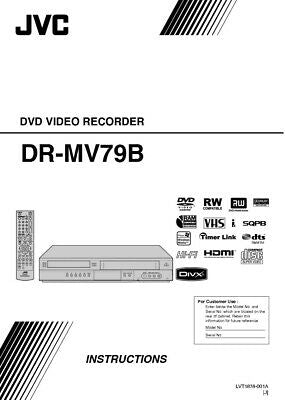 JVC DR-MV79B DVD Recorder Owners Instruction Manual Reprint