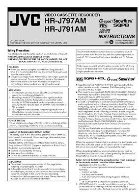 JVC HR-J791AM HR-J797AM VCR Owners Instruction Manual Reprint
