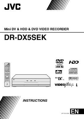 JVC DR-DX5SEK Mini DV & DVD Player Owners Instruction Manual Reprint