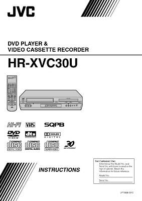JVC HR-XVC30US VCR Owners Instruction Manual Reprint