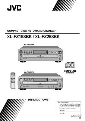 JVC XL-FZ158BK XL-FZ258BK CD Changer Owners Instruction Manual Reprint