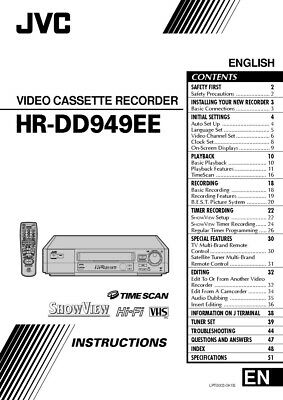 JVC HR-DD949EE VCR Owners Instruction Manual Reprint
