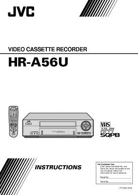 JVC HR-A56U VCR Owners Instruction Manual Reprint