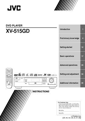 JVC XV-515GD DVD Player Owners Instruction Manual Reprint