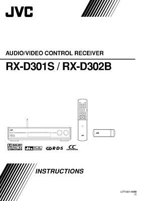 JVC RX-D301SB RX-D302BB Receiver Owners Instruction Manual Reprint