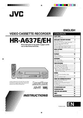JVC HR-A637E HR-A637EH VCR Owners Instruction Manual Reprint