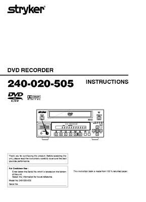 JVC 240-020-505 DVD Recorder Owners Instruction Manual Reprint