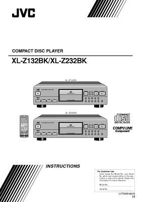 JVC XL-Z132BK XL-Z232BK CD Player Owners Instruction Manual Reprint