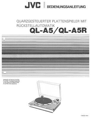 JVC QL-45 QL-A5R Turntable Owners Instruction Manual Reprint