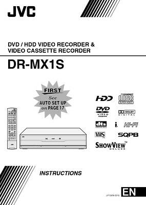 JVC DR-MX1S DVD Recorder Owners Instruction Manual Reprint