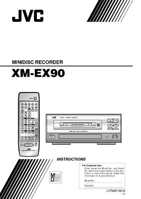 JVC XM-EX90 Minidisc Recorder Owners Instruction Manual Reprint