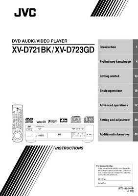 JVC XV-D721BK XV-D723GD DVD Player Owners Instruction Manual Reprint