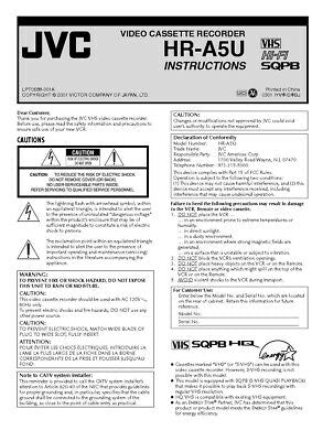 JVC HR-A5U VCR Owners Instruction Manual Reprint