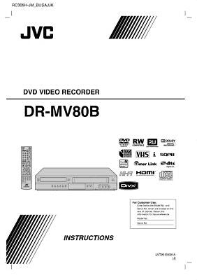 JVC DR-MV80B DVD Recorder Owners Instruction Manual Reprint