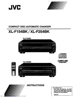 JVC XL-F154BK XL-F254BK CD Changer Owners Instruction Manual Reprint