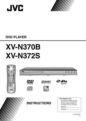 JVC XV-N370B XV-N372S DVD Player Owners Instruction Manual Reprint