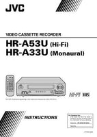 JVC HR-A33U HR-A53U VCR Owners Instruction Manual Reprint