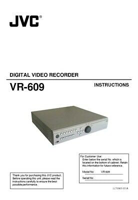 JVC VR-609 Digital Video Recorder Owners Instruction Manual Reprint